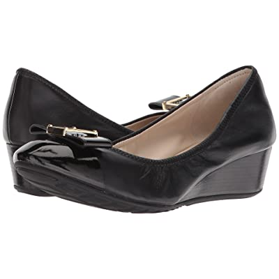 Cole Haan Emory 40mm Bow Wedge II (Black Leather) Women