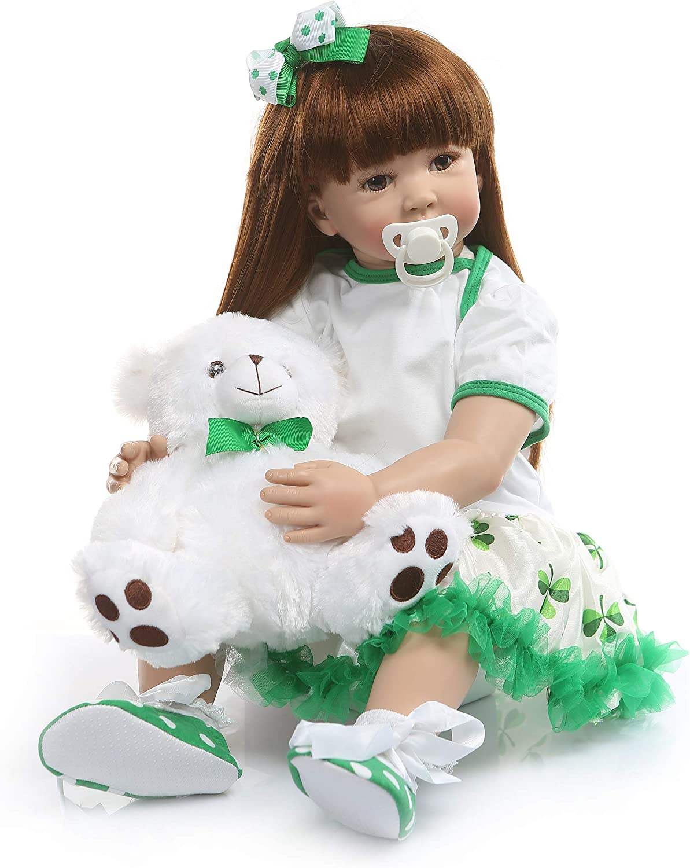 Pinky Reborn Dolls Real Looking Princess Baby Girl Toddler Soft Silicone Girl reborn Long Hair Toys 60cm (ITEM 5)