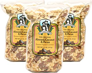 Killian Korn, Popcorn Popped & Flavored - Almond, Coconut & Pecan Popcorn Premium Confection, 11 oz (Pack of 3), Delightful, Delicious, and Unique Fun Snack to Enjoy with Family & Friends
