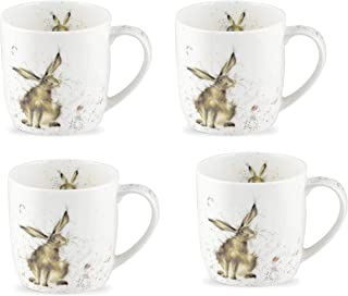Royal Worcester Wrendale Designs Set of 4 Mugs - Good Hare Day, 11 oz