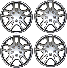 Tuningpros WC3-14-3523-S - Pack of 4 Hubcaps - 14-Inches Style 3523 Snap-On (Pop-On) Type Metallic Silver Wheel Covers Hub-caps