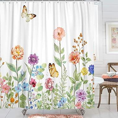 Kanuyee Fabric Floral Shower Curtain,Garden Butterfly Shower Curtains for Bathroom, Bath Curtain Modern Bathroom Accessories