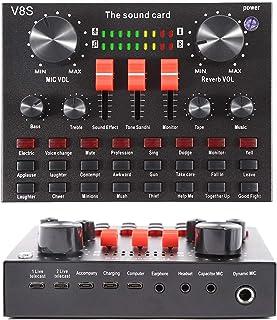 کارت صدا Mini Sound Mixer Board Voice Changer برای پخش جریانی مستقیم با چندین جلوه صوتی پخش موسیقی ضبط شده در لپ تاپ و تبلت رایانه تلفن همراه (V8S)