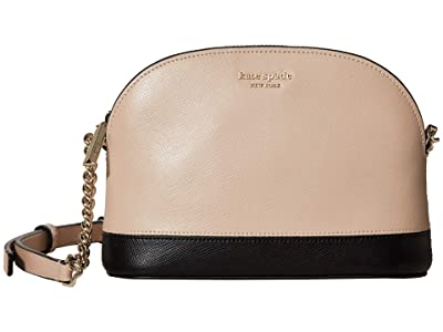 Kate Spade New York Spencer Small Dome Crossbody (Warm Beige/Black) Handbags