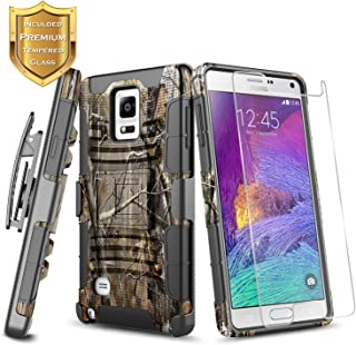 Galaxy Note 4 Case with Tempered Glass Screen Protector, NageBee Belt Clip Holster Built-in Kickstand Full-Body Shockproof Armor Heavy Duty Rugged Durable Case for Samsung Galaxy Note 4 -Camo