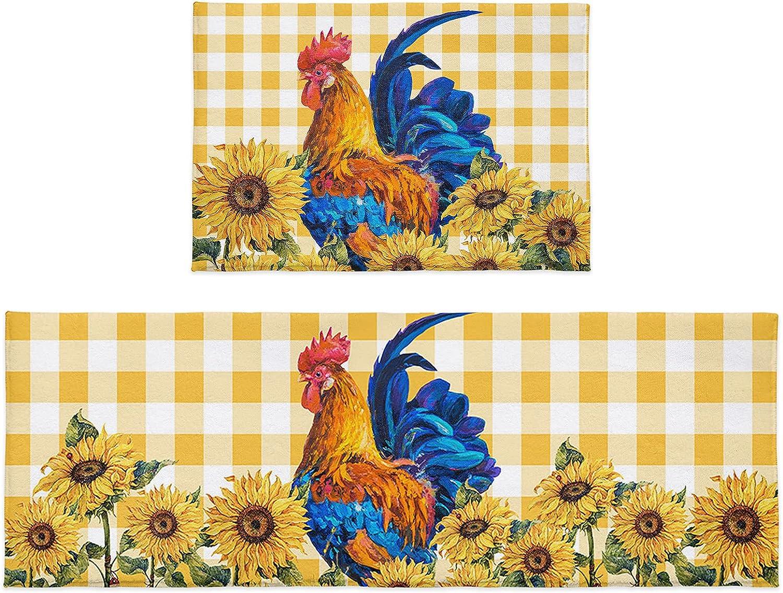 Kitchen Rug Sets 2 Piece Farm Animal Sunflower Gorgeous Popular brand Chicken P Rooster