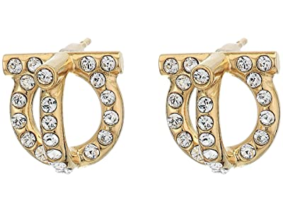 Salvatore Ferragamo Gancio 3-D Earrings (Oro/Strass) Earring