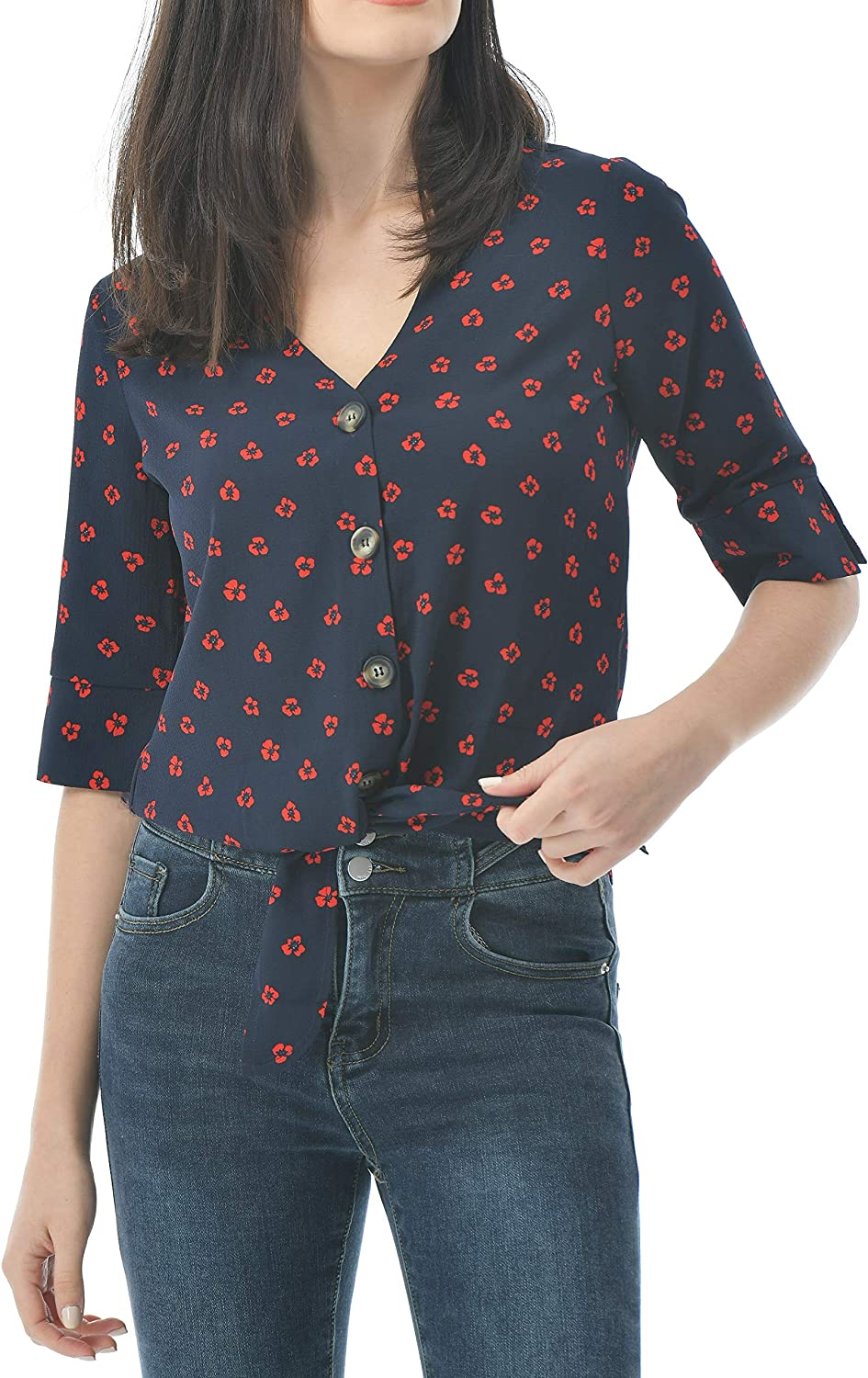 Women's Casual Cute Summer Tops, V Neck 3/4 Sleeve Button Down Blouses,Tie Knot Chiffon Shirts