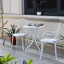3-Piece Outdoor Garden Table Desks and Chairs Set Rust-Resistant Cast Aluminum Patio Bistro Set White Cast Retro Style Gar...