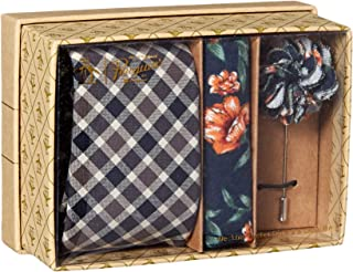 Original Penguin 男士 3 件套格子领带,方形口袋和翻领别针盒