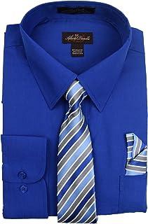 Alberto Danelli Men's Long Sleeve Dress Shirt with Matching Tie and Handkerchief Set