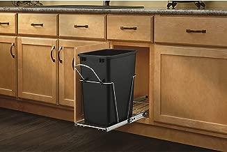 Rev-A-Shelf RV-12KD-18C S Single 35 Quart Sliding Pull Out Kitchen Cabinet Waste Bin Container, Black