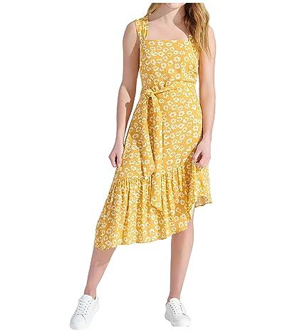 Sam Edelman Textured Animal Ruffle Asymmetrical Hem (Yellow/Ivory) Women