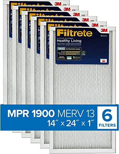 Filtrete 14x24x1, AC Furnace Air Filter, MPR 1900, Healthy Living Ultimate Allergen, 6-Pack (exact dimensions 13.81 x...