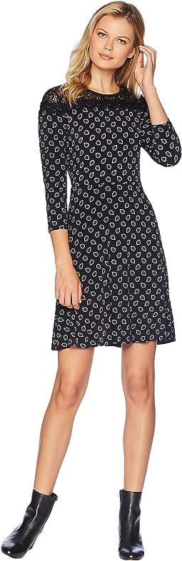 Foulard Print Lace Dress