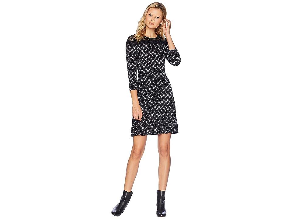 MICHAEL Michael Kors Foulard Print Lace Dress (Black/Gunmetal) Women