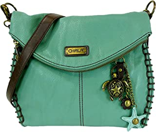 Chala Charming Crossbody Bag With Flap Top | Flap and Zipper Cross-Body Purse or Shoulder Handbag with Metal Chain - Teal - Turtle