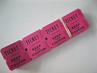 500 Hot Pink 50/50 Double Stub Raffle Tickets