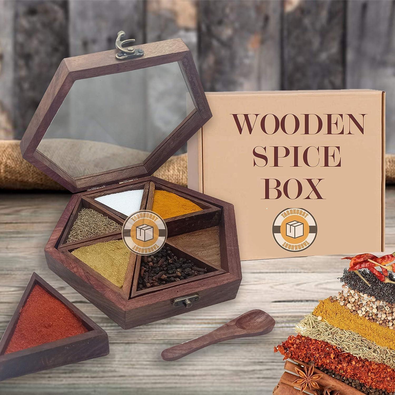 Wooden 通信販売 spice box - Masala dani W ORIGINAL kitchen for 売り込み Sheesham
