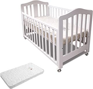 Babyworth BW02 Classic Cot & Mattress & Change Table & Pad & Chest Package (Cot+Mattress, White)