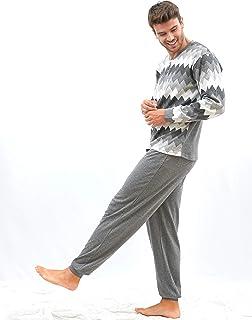 ? - Pijama de Hombre – Pijama de Hombre algodón Estampado - Conjunto de Pijama de Hombre de Invierno con Cenefa – Color Gris – Moda Homewear