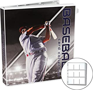 UniKeep Baseball Themed Trading Card Collection Binder with 10 Platinum Series Trading Card Pages. Fully Enclosed Case with a Locking Latch to Keep Cards Secure