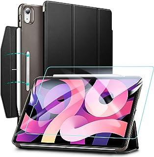 ESR iPad Air 4 ケース 2020 iPad 10.9インチ 半透明カバー 強化ガラスフィルム付き オートスリープ機能付き 第二世代Pencil ワイヤレス充電対応 三つ折りスマートケース 留め具付き ブラック