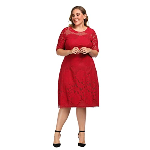 7499a102bf Chicwe Women s Plus Size Lined Floral Lace Dress - Knee Length Casual Party  Cocktail Dress