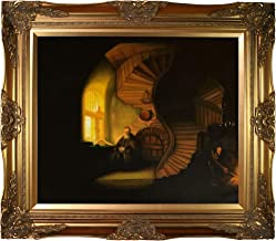 overstockArt The Philosopher in Meditation Framed Oil Reproduction of an Original Painting by Rembrandt, Victorian Frame, Gold Finish