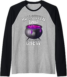 Halloween Brew Crew Witch Cauldron Bubbling Potion  Raglan Baseball Tee