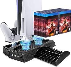 Estação vertical para ventilador de arrefecimento com suporte para PlayStation 5 Edição Digital/Ultra HD com base de carre...