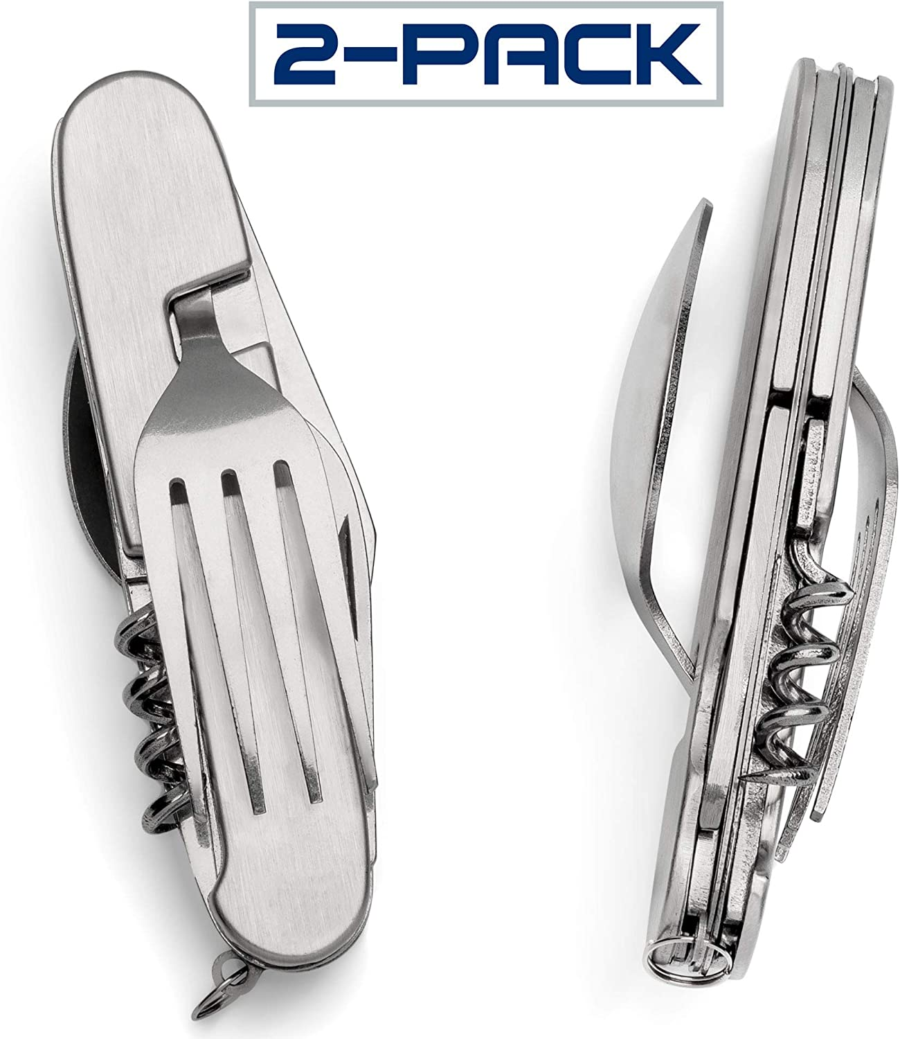 Typhon East 2 Pack Multi-Function 6 in 1 Fork Spoon Opener and Knife Combination for Hiking, Survival, and Camping