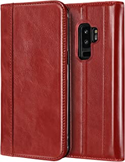 ProCase Galaxy S9 Plus Genuine Leather Case, Vintage Wallet Folding Flip Case with Kickstand, Card Holder, Magnetic Closure Protective Cover for Galaxy S9+ 2018 Release -Red