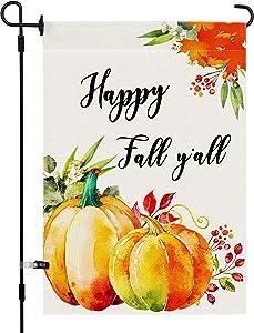 Utiginye Fall Pumpkin Garden Flag, Happy Fall y'all Fall Garden Flags 12×18 Double Sided Rustic Farmhouse Yard Lawn Outdoor fall Decor