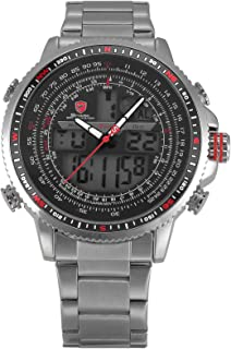 HELMASK watch - Stainless Steel 304 Silver Round man mens men boy Analog & Digital analog Date Day 24hour 2 time zone dual time zone Wrist Watch