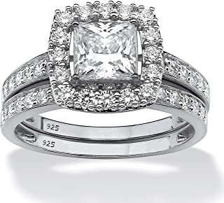 Platinum over Sterling Silver Princess Cut Created Sapphire 2 Pair Halo Bridal Ring Set