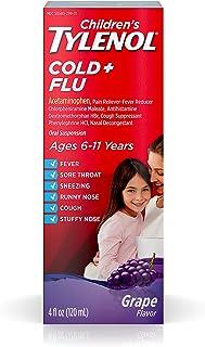 Children`s Tylenol Cold & Flu Liquid Oral Suspension Medicine, Grape, 4 fl. oz