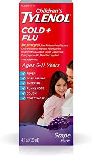 Children's Tylenol Cold and Flu Oral Suspension Kids' Cold and Flu Medicine, Grape, 4 Fl. Oz