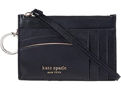 Kate Spade New York Spencer Card Case Wristlet (Black) Handbags