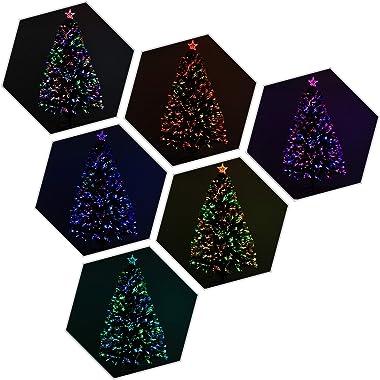 Künstlicher Weihnachtsbaum, beleuchtet, Glasfaser, LED, mehrfarbig + Ständer, Ø 60 x 120 cm, 130 Zweige, Sterne, glänzend, Gr