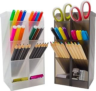STYLIO Office Desk Organizer. Pen & Pencil Holder. Markers, Stationery Caddies for Office/Teacher Supplies. Translucent Black & White Caddy Organizer Racks (Set of 4). Perfect for Desktops