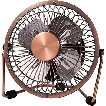 MerLerner USB Desk Fan 4 Inch Mini Portable Ultra Quiet Cooling Fan 360°Rotation for Home Office Table USB Powered ONLY Retro Bronze Design,Bronze