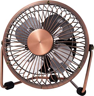 MerLernerUSB Desk Fan 4 Inch Mini Portable Ultra Quiet Cooling Fan 360°Rotation for Home Office Table USB Powered ONLY Retro Bronze Design