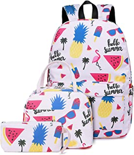 School Backpacks Girls Kids Bookbags with Insulated Lunch bag Pencil Pouch Teens Casual Daypack Pineapple Flamingo