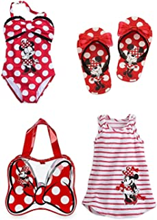 5c8439aa73a32 Minnie Mouse Disney Store Girls Size 5 6 Swim Set Swimsuit Flip Flops Cover  Up Bag
