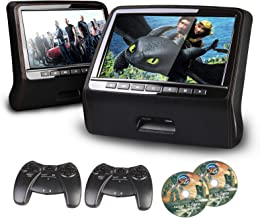 "XTRONS 9"" HD Active Car Pillow Headrest Monitor Portable DVD/USB Player Game HDMI (HD9PCHBlackx2)"