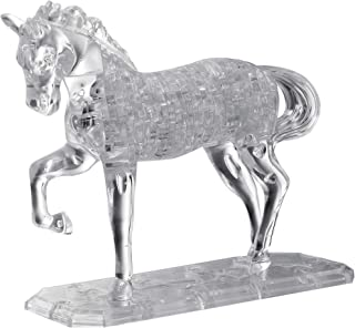 BePuzzled Deluxe 3D Crystal Jigsaw Puzzle - Horse Animal Assembly Brain Teaser, Fun Model Toy Gift Decoration for Adults & Kids Age 12 & Up, White, 98Piece (Level 3)