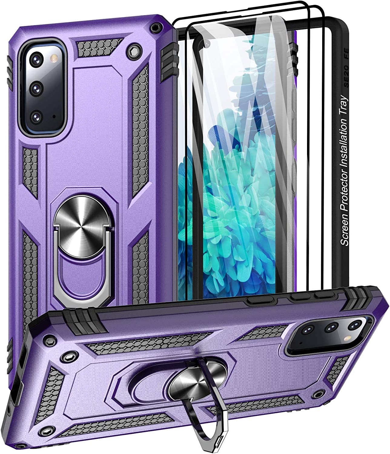 Aliruke Case for Galaxy S20 FE Case with 2 Glass Screen Protector and Align Frame,Military Grade Drop Tested Cover Grip Ring Kickstand Phone Cases for Samsung Galaxy S20 FE 5G/S20 Fan Edition, Purple
