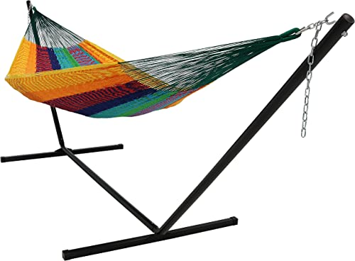 lowest Sunnydaze Mayan Family high quality Hammock Hand-Woven XXL Thick Cord with 15-Foot Stand, Heavy Duty 400-Pound Capacity, outlet sale Multi-Color outlet sale