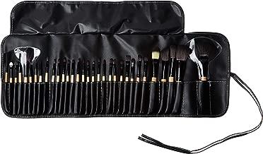 Professional Cosmetic Makeup Brushes Set - Beauty Make Up Face Kit Eyeshadow Foundation Eyeliner Bronzer Concealer Contour Brush for Blending Powder & Cream With Organizer Holder Case 32 Piece Wooden
